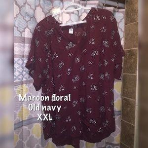 Cute maroon floral shirt